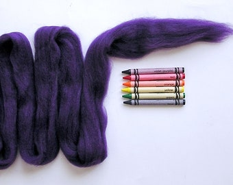 CORRIEDALE WOOL ROVING / Really Purple 1 ounce / corriedale sliver for needle felt, wet felting, doll hair, troll hair, photography braids