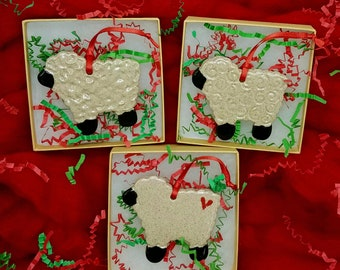 STONEWARE SHEEP ORNAMENT - Glazed pottery sheep ornament - 2 Styles to Choose From - Made in Maine by Purple Moose Felting - Clay Sheep