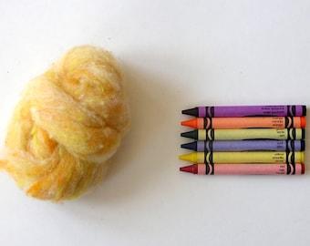 TEXTURED WOOL BATTING - Chickie Masla Yellow - 1 oz. fiber for needle felting , spinning , wet felting, and nuno felting