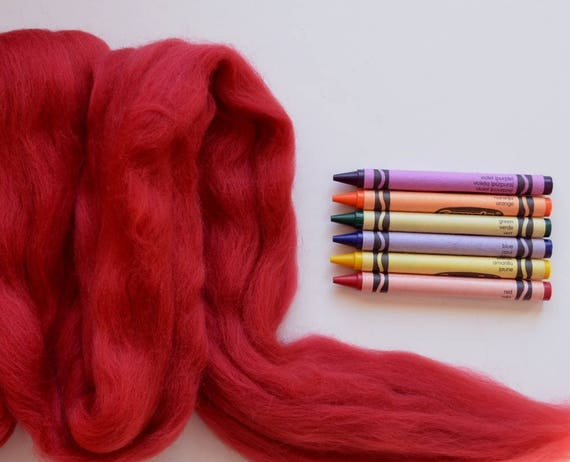 Orange Extra Fine Merino Roving One Ounce Assorted Yellow and Red Colors for Felting Sun
