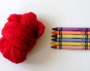 TEXTURED WOOL BATTING - Ukrainian Red - 1 oz. fiber for needle felting , spinning , wet felting, and nuno felting