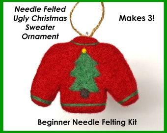 UGLY CHRISTMAS SWEATER ornament / Beginner Needle Felting Kit / cookie cutter felting kit / Holiday needle felting / Christmas learn to felt
