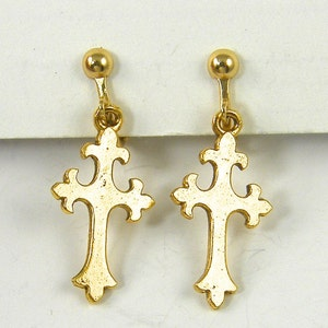 Details about  /14K Yellow Gold Hollow Polished Woven Fleur de Lis Cross Charm Pendant MSRP $295