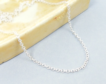 Silver Chain Necklace - 24 Inch Small Link Silver Plated Cable Chain |CH1-S24