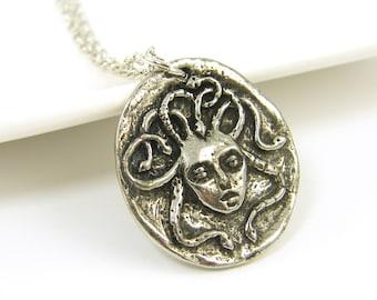 Medusa Necklace, Silver Medusa Pendant, Snake Serpent Charm with Chain Greek Mythology Jewelry  GS1-15