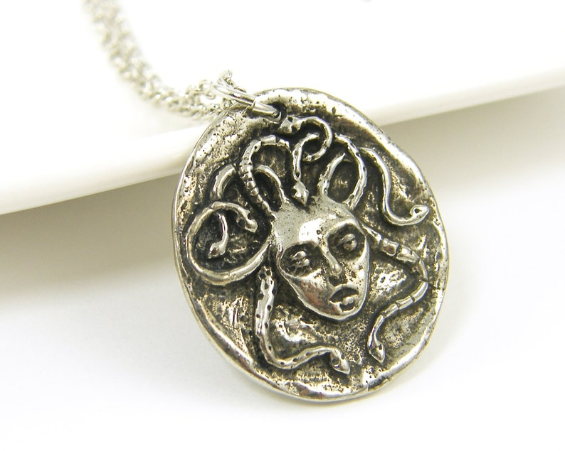 Medusa Necklace Silver Medusa Pendant Snake Serpent Charm image 0