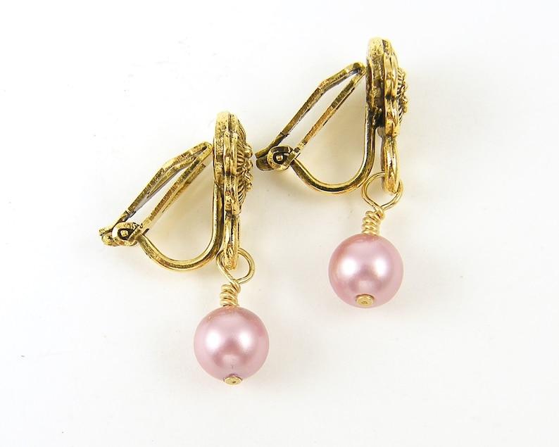 Pink Pearl Dangle Clip on Earrings Gold Flower Clip Earrings Pink Pearl Clip Earrings Pink Clip on Earrings EB1-23