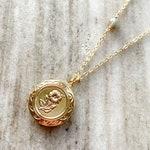 Floral Locket | Flower Locket | Flower necklace | Labradorite Necklace | Locket | Vintage Locket | Locket Necklace | Dainty Necklace |