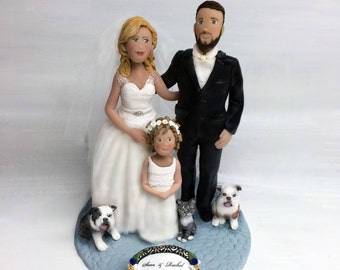 Custom Family Wedding Cake Topper Bride Groom and Toddler plus Pets from Your Ideas and Photos