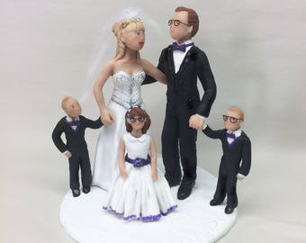 Wedding Cake Topper of Bride Groom and Children from your Ideas and Photos