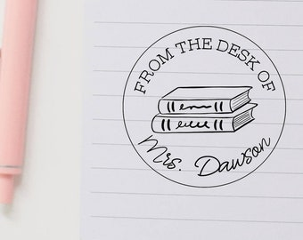 From the Desk of Stamp, Custom Book Stamp, Personalized Stamp, Custom Teacher Name Stamp, Teacher Gifts, Personalized Teacher Gifts