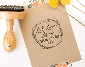 Let Love Grow Stamp, Wedding Favor Stamp, Thank You Stamp, Circle Stamp, Wedding Souvenir Stamp, Floral Stamp, Seed Stamp, Seed Favor