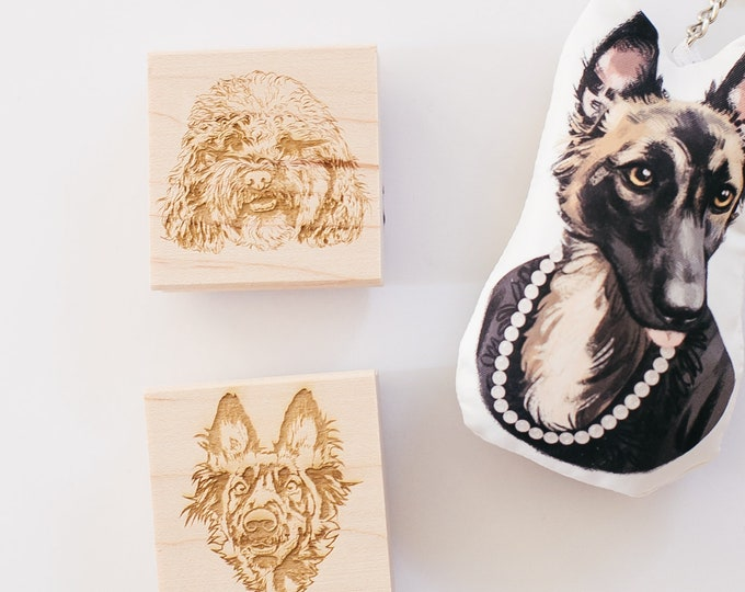 Featured listing image: Pet Portrait, Custom Pet Stamp, Pet Christmas Rubber Stamp, Christmas Stamp, Dog Stamp, Cat Stamp, Personalized Pet Stamp, Pet Illustration