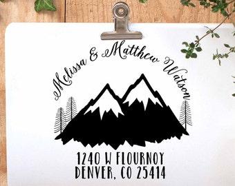 Return Address Stamp, Mountains Address Stamp, Winter Address Stamp, Mountain Wedding Stamp, Ski Resort Wedding, Outdoor Wedding Stamp,