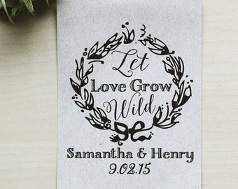 75 Customized Eco-Friendly Let Love Grow Wild Wedding Seed Favor Kraft Envelopes