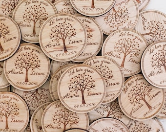 Save the Date Invitation, Wedding Wood Magnet, Custom Save the Date, Wedding Favor, Let Love Grow, Wood Invitation, Wedding Tree Invitation