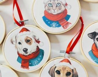 Custom Christmas Pet Portrait Hoop, Pet Christmas Gift, Personalized Pet Gifts, Pet Ornaments, Pet Lover Gifts, Dog Gifts, Cat Gifts