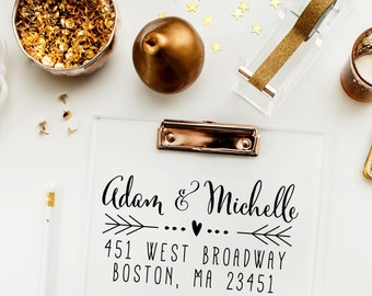 Calligraphy Return Address Stamp, Hand Written Return Address Stamp, Wedding Invitation Rubber Stamp - Heart and Arrows