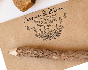 Return Address Stamp, Flower Stamp, Wedding Stamp, Calligraphy Stamp, Save the Date Stamp, Custom Address Stamp, Antler Stamp, Deer Stamp