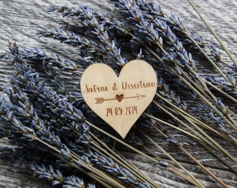 100 Customized Engraved Wooden Heart & Arrow Magnets Wedding Favors