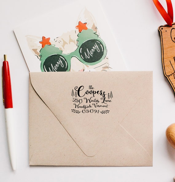 Wondrous Return Address Stamp Christmas Address Stamp Greeting Cards Etsy Funny Birthday Cards Online Fluifree Goldxyz