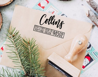 Return Address Stamp, Custom Address Stamp, Christmas Stamp, Winter Address Stamp, Personalized Stamp, Wedding Stamp, Self Inking