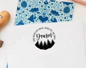 Return Address Stamp, Custom Tree Stamp, Wedding Invitation Stamp, Forest Wedding Stamp, Personalized Address Stamp, Cabin Address Stamp