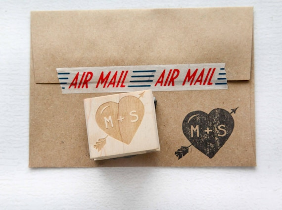 Heart with Arrows Stamp, Initials Rubber Stamp, Save the Date Stamp, Wedding Invitation Stamp, Heart Stamp, Wedding Favor Stamp