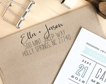 Return Address Stamp, Wedding Invitation Stamp, Self-Inking Stamp, Save the Date Stamp, Personalized Address Stamp