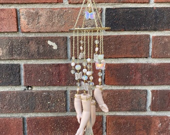 Deconstructed Doll Parts Butterfly Kisses and Crystal Charms Prismatic Window Suncatcher Windchime Mobile Witchy Fortune Occultist