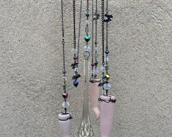 Deconstructed Doll Parts Bats and Crystals Charms Prismatic Window Suncatcher Windchime Mobile Witchy Fortune Occultist