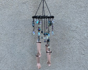 Deconstructed Doll Parts Quartz and Crystals Charming Prismatic Window Suncatcher Windchime Mobile Witchy Fortune Occultist