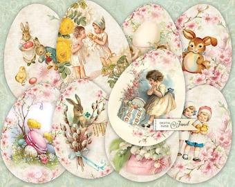 Happy Easter Eggs - digital collage sheet - set of 9 eggs