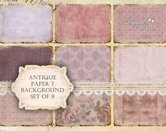 Antique Paper 7 - background - digital collage sheet - set of 9 - Printable Download