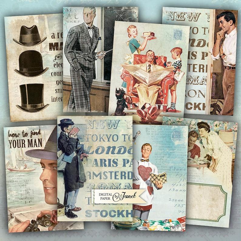 Big Boys-mężczyźni-cyfrowy arkusz kolażu-zestaw 8-do druku image 0