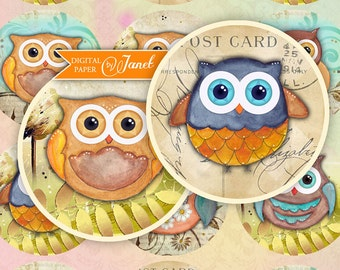 OWL - 2.5 inch circles - set of 12 - digital collage sheet - pocket mirrors, tags, scrapbooking, cupcake toppers