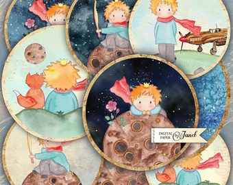 The Little Boy - 2.5 inch circles - set of 12 - digital collage sheet - pocket mirrors, tags, scrapbooking, cupcake toppers