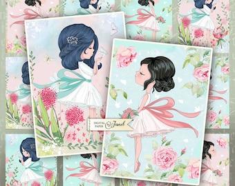 Cute Girls - pastel tags - digital collage sheet - set of 6 - Printable Download