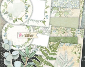 Eucalyptus Collection - Paper Craft Supplies - Scrapbooking - Junk Journal Pages - digital collage sheet - Printable Download