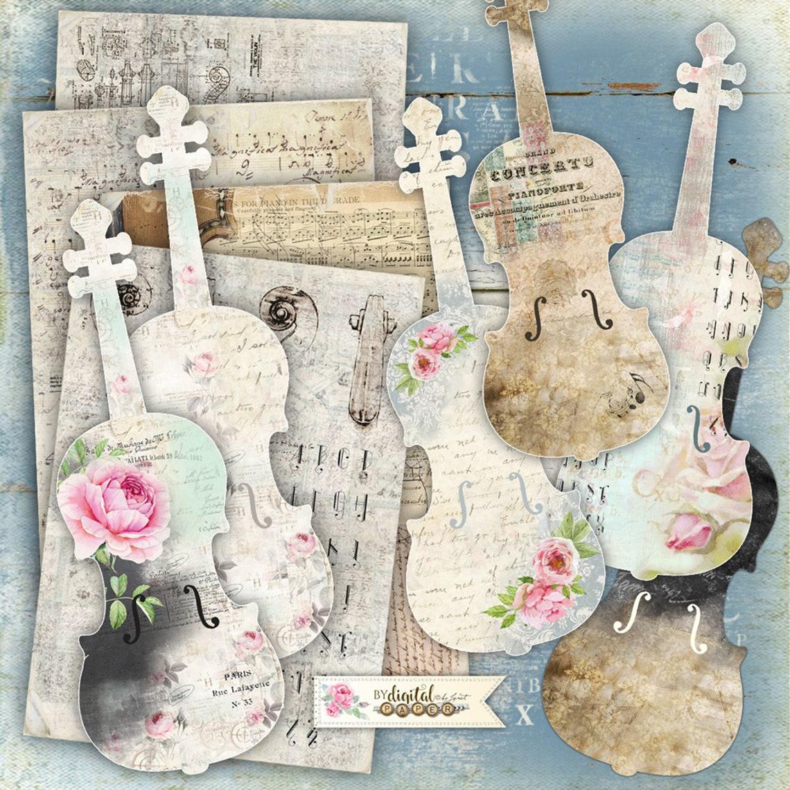 Vintage skrzypce-tło i elementy-cyfrowy kolaż arkusz-do druku image 0