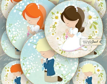 My First Communion - 2,5 inch circles - set of 12 - digital collage sheet - pocket mirrors, tags, scrapbooking, cupcake toppers