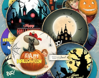Halloween - 2.5 inch circles - set of 12 - digital collage sheet - pocket mirrors, tags, scrapbooking, cupcake toppers