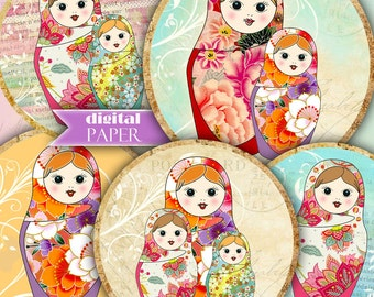 Matrioshka - 2.5 inch circles - set of 12 - digital collage sheet - pocket mirrors, tags, scrapbooking, cupcake toppers