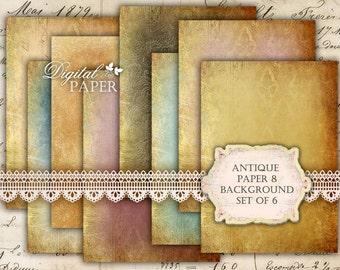 Antique Paper 6 - background - digital collage sheet - set of 8 - Printable Download