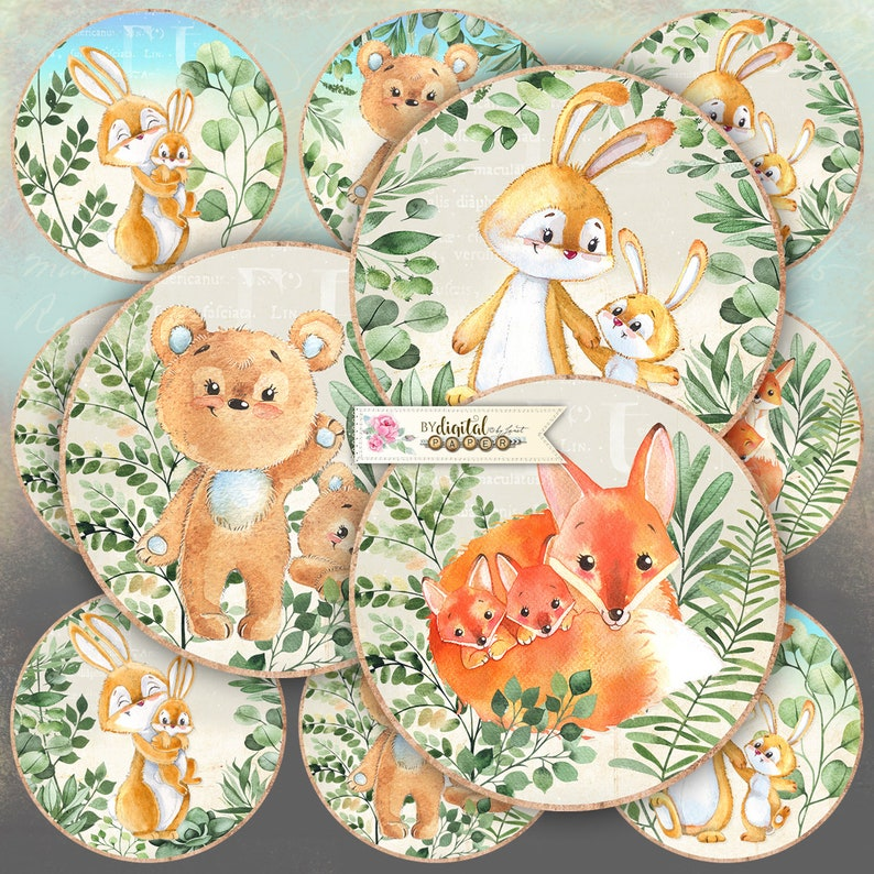 Forest Mom  2.5 inch circles  set of 12  pocket mirrors image 0