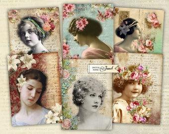 Portrait - digital collage sheet - set of 8 - Printable Download