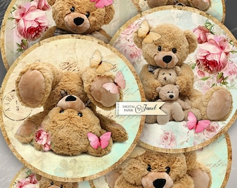 Teddy Bears - 2.5 inch circles - set of 12 - digital collage sheet - pocket mirrors, tags, scrapbooking, cupcake toppers
