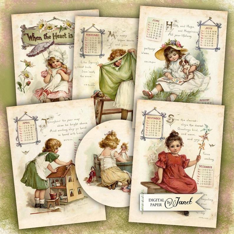 Antique Calendar  digital collage sheet  set of 6 cards  image 0