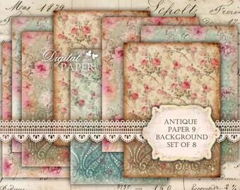 Antique Paper 9 - background - digital collage sheet - set of 8 - Printable Download