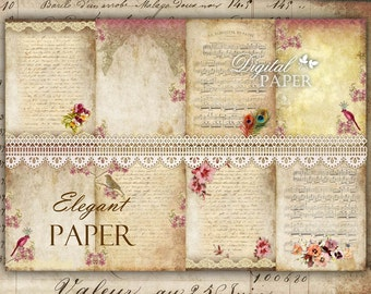 Elegant Paper - background - digital collage sheet - set of 8 - Printable Download